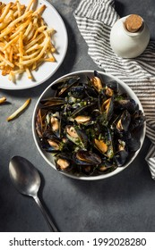 Homemade Moules Frites Mussels and Fries with a White Wine Sauce