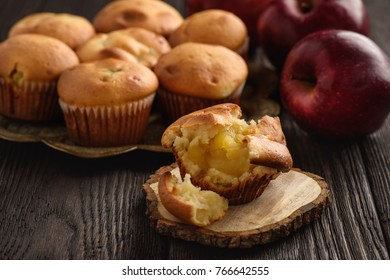 Homemade muffins with apple stuffing.