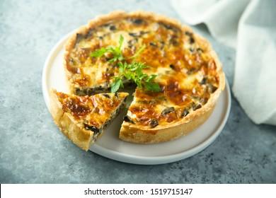 Homemade mushroom quiche or pie