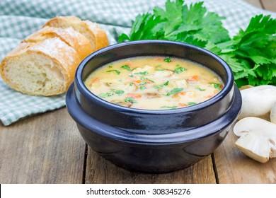 Homemade mushroom soup with chicken