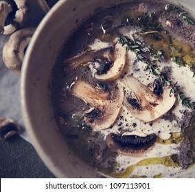 Homemade mushroom soup food photgraphy recipe idea