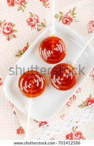 Homemade Natural Fruit Lollipops On White Stock Photo (Edit