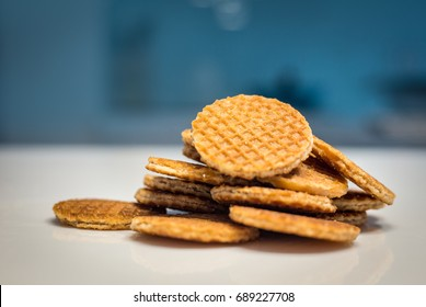 homemade Netherlands traditional stroopwafel snack on kitchen background from dough and syrup in original tast from Dutch