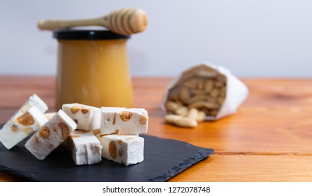 Homemade nougat with honey and almonds.