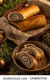 Homemade nut roll. Traditional Hungarian Chistmas or Easter beigli cake