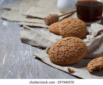 Homemade oatmeal chocolate cookie. Selective focus