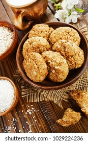 Homemade oatmeal cookies with coconut on the table