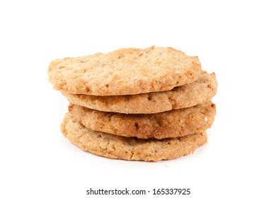 homemade oatmeal cookies isolated on white background