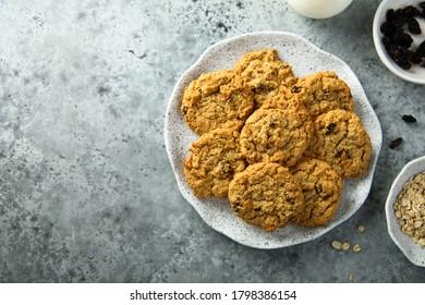 Homemade oatmeal cookies with raisins