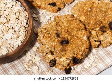 homemade oatmeal cookies with raisins, top view horizontal