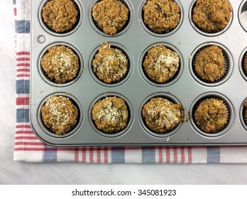 Homemade oatmeal mini muffins in a baking tray