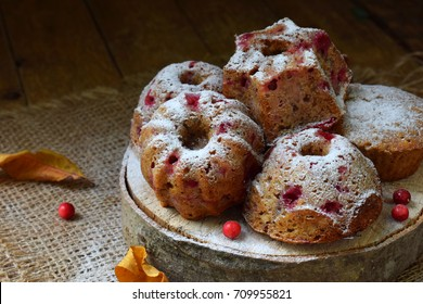 Homemade oats muffins with lingonberry sprinkled powder on a dark background. Homemade baking. Healthy food. - Shutterstock ID 709955821
