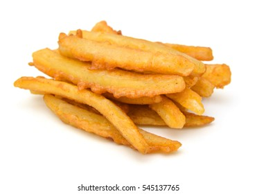 Homemade oil fried sweet potato fries on white background