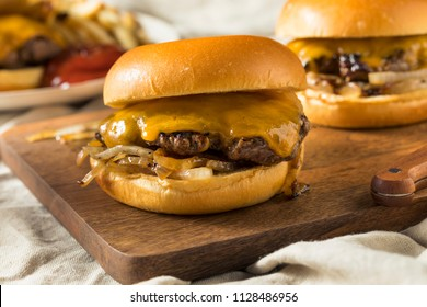 Homemade Oklahoma Fried Onion Cheeseburgers with Cheddar