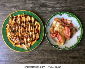 Homemade okonomiyaki and grilled bacon