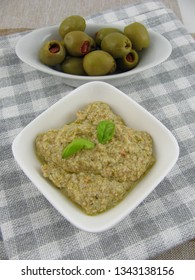 Homemade olive paste with basil and yogurt