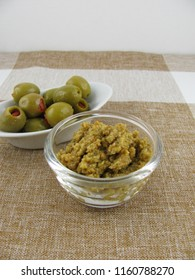 Homemade olive paste from green olives