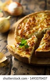 Homemade onion pie or quiche