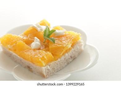 Homemade orange and mascarpone cheese sandwich