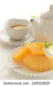 Homemade orange steamed cake for asian sweet food image