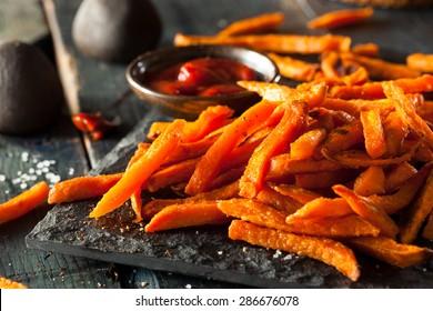 Homemade Orange Sweet Potato Fries with Salt and Pepper