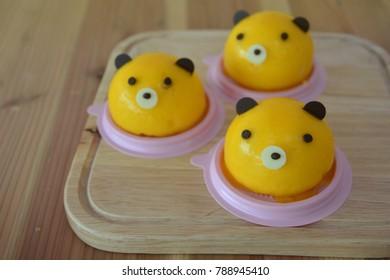 Homemade  Orange Teddy Bear's Head Chiffon Cake