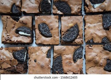 Homemade Oreo brownies on a plate