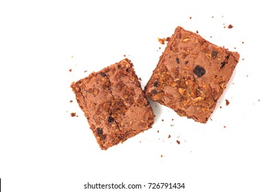 Homemade organic brownies isolated on white background