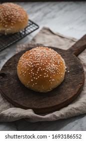 Homemade organic burger buns on the table