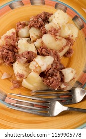 homemade organic corned beef hash on a plate