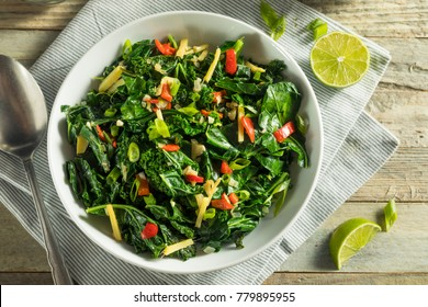 Homemade Organic Green Collard Greens with Pepper and Ginger