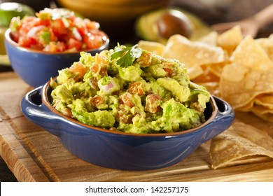 Homemade Organic Guacamole made with avacados and Tortilla Chips