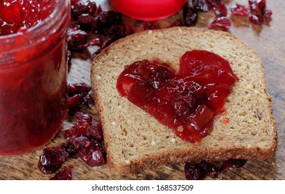 Homemade Organic Jelly on Whole Grain Bread for Valentine's Day