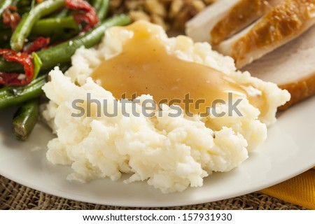 Homemade Organic Mashed Potatoes with Gravy for Thanksgiving