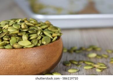 Homemade organic roasted pumpkin seeds, brushed with Himalayan salt sole