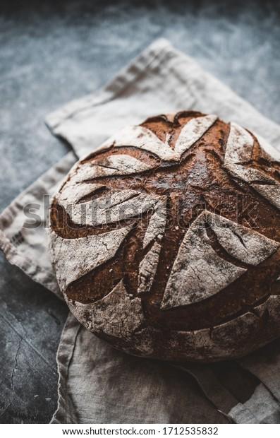 Homemade, organic rustic bread. Wholemeal