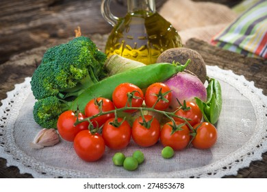Homemade organic vegetables on wooden table