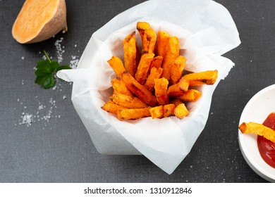 Homemade oven baked sweet and juicy,  sweet potato fries.