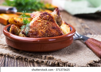 Homemade oven fried parmesan crusted chicken thighs
