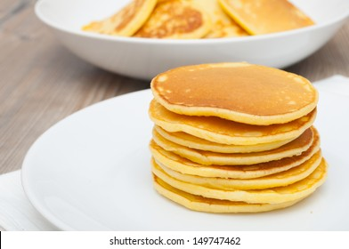 Homemade Pancakes on Plate - Shallow Depth of Field
