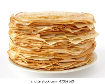 homemade pancakes pile on plate