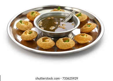 homemade pani puri, golgappa, indian snack isolated on white background