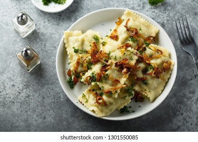Homemade pasta with meat and fried onion