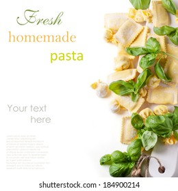 Homemade pasta ravioli and perle with fresh basil over white with sample text