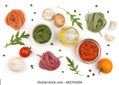 Homemade pasta, sauce and vegetables, cooking background