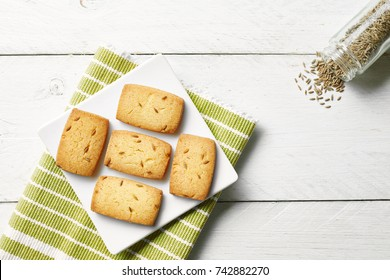 homemade pastry cookies on white background