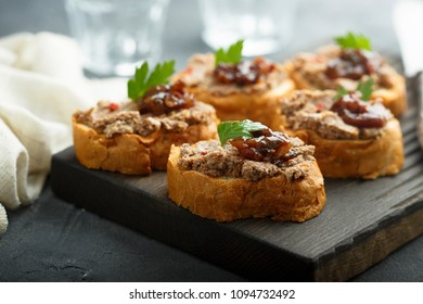 Homemade pate on toasted bread