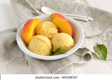 Homemade peach ice cream, sorbet