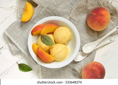 Homemade peach ice cream, sorbet, top view