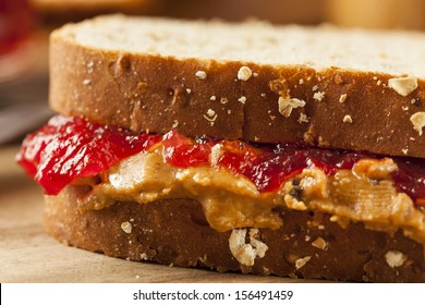 Homemade Peanut Butter and Jelly Sandwich on Whole Wheat
